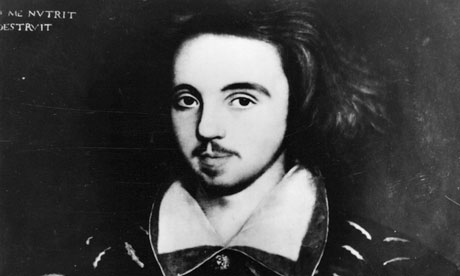 Staged exit? … the only known portrait of Christopher Marlowe, from 1585.