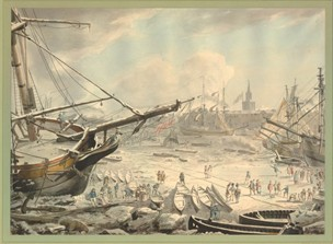 View of the Thames in the Great Frost of 1789; Pen and grey ink and watercolour by an unknown artist